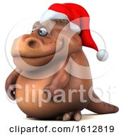 Clipart Of A 3d Brown Christmas T Rex Dinosaur On A White Background Royalty Free Illustration