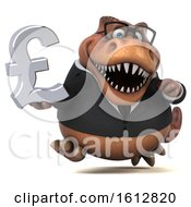 Clipart Of A 3d Brown Business T Rex Dinosaur Holding A Pound Currency Symbol On A White Background Royalty Free Illustration