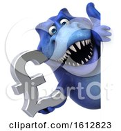 Clipart Of A 3d Blue T Rex Dinosaur Holding A Pound Currency Symbol On A White Background Royalty Free Illustration