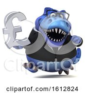 Clipart Of A 3d Blue Business T Rex Dinosaur Holding A Pound Currency Symbol On A White Background Royalty Free Illustration