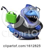 Clipart Of A 3d Blue Business T Rex Dinosaur Holding A Gas Can On A White Background Royalty Free Illustration