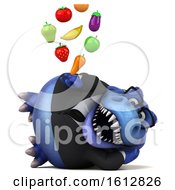 Clipart Of A 3d Blue Business T Rex Dinosaur Holding Produce On A White Background Royalty Free Illustration