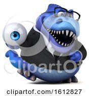 Clipart Of A 3d Blue Business T Rex Dinosaur Holding An Eyeball On A White Background Royalty Free Illustration