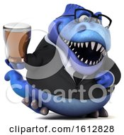 Clipart Of A 3d Blue Business T Rex Dinosaur Holding A Beer On A White Background Royalty Free Illustration