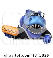 Clipart Of A 3d Blue Business T Rex Dinosaur Holding A Hot Dog On A White Background Royalty Free Illustration