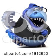 Clipart Of A 3d Blue Business T Rex Dinosaur Holding A Euro On A White Background Royalty Free Illustration