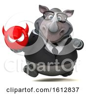 Clipart Of A 3d Business Rhinoceros Holding A Devil On A White Background Royalty Free Illustration