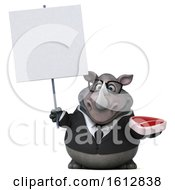 Clipart Of A 3d Business Rhinoceros Holding A Steak On A White Background Royalty Free Illustration