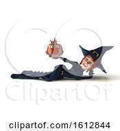 3d Sexy Blue Witch Holding A Fish Bowl On A White Background