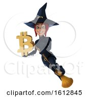 Clipart Of A 3d Sexy Blue Witch Holding A Bitcoin Symbol On A White Background Royalty Free Illustration