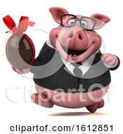 Clipart Of A 3d Chubby Business Pig Holding A Chocolate Egg On A White Background Royalty Free Illustration