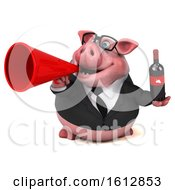 3d Chubby Business Pig Holding Wine On A White Background
