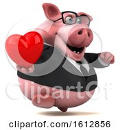 Poster, Art Print Of 3d Chubby Business Pig Holding A Heart On A White Background