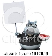 Clipart Of A 3d Chubby White Business Horse Holding A Steak On A White Background Royalty Free Illustration