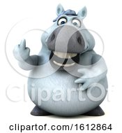 Clipart Of A 3d Chubby White Horse Holding Up A Middle Finger On A White Background Royalty Free Illustration