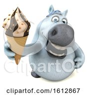 Poster, Art Print Of 3d Chubby White Horse Holding A Waffle Cone On A White Background