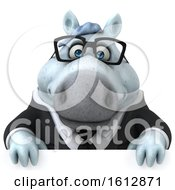 Clipart Of A 3d Chubby White Business Horse Over A Sign On A White Background Royalty Free Illustration