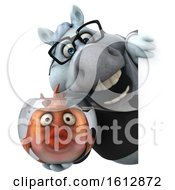 Clipart Of A 3d Chubby White Business Horse Holding A Fish Bowl On A White Background Royalty Free Illustration
