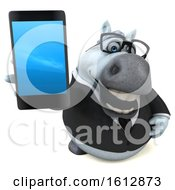 Clipart Of A 3d Chubby White Business Horse Holding A Cell Phone On A White Background Royalty Free Illustration