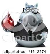 Clipart Of A 3d Chubby White Business Horse Holding A Blood Drop On A White Background Royalty Free Illustration