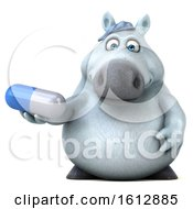 Clipart Of A 3d Chubby White Horse Holding A Pill On A White Background Royalty Free Illustration
