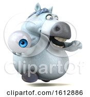 Clipart Of A 3d Chubby White Horse Holding An Eyeball On A White Background Royalty Free Illustration
