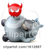 Clipart Of A 3d Chubby White Horse Holding A Devil On A White Background Royalty Free Illustration