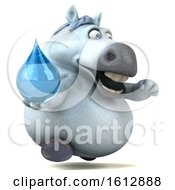 Clipart Of A 3d Chubby White Horse Holding A Water Drop On A White Background Royalty Free Illustration