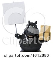 Clipart Of A 3d Chubby Black Business Horse Holding Boxes On A White Background Royalty Free Illustration