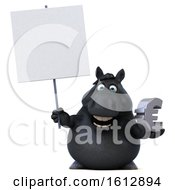 Clipart Of A 3d Chubby Black Horse Holding A Euro On A White Background Royalty Free Illustration