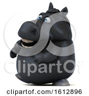 Clipart Of A 3d Chubby Black Horse Walking On A White Background Royalty Free Illustration