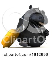 Clipart Of A 3d Chubby Black Business Horse Traveler On A White Background Royalty Free Illustration