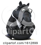Clipart Of A 3d Chubby Black Business Horse Walking On A White Background Royalty Free Illustration