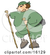 Overweight Woman In Green Sweats Wearing A Fanny Pack And Using Two Hiking Sticks While Being A Good Sport About Exercising