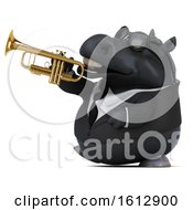 Clipart Of A 3d Chubby Black Business Horse Playing A Trumpet On A White Background Royalty Free Illustration