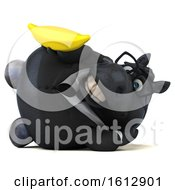 Clipart Of A 3d Chubby Black Business Horse Holding A Banana On A White Background Royalty Free Illustration