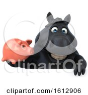 Clipart Of A 3d Chubby Black Horse Holding A Piggy Bank On A White Background Royalty Free Illustration
