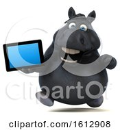 Clipart Of A 3d Chubby Black Horse Holding A Tablet On A White Background Royalty Free Illustration
