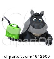 Clipart Of A 3d Chubby Black Horse Holding A Gas Can On A White Background Royalty Free Illustration