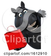 Clipart Of A 3d Chubby Black Horse Holding A Shopping Bag On A White Background Royalty Free Illustration