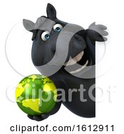 Clipart Of A 3d Chubby Black Horse Holding A Globe On A White Background Royalty Free Illustration