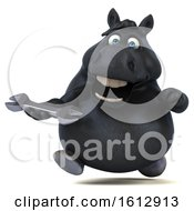 Clipart Of A 3d Chubby Black Horse Holding A Wrench On A White Background Royalty Free Illustration