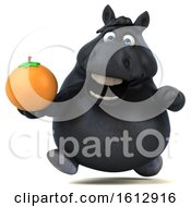 Clipart Of A 3d Chubby Black Horse Holding An Orange On A White Background Royalty Free Illustration