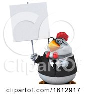 Poster, Art Print Of 3d White Business Chicken Holding A Blank Sign On A White Background