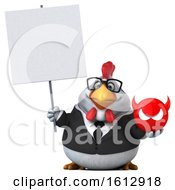 Poster, Art Print Of 3d White Business Chicken Holding A Devil On A White Background
