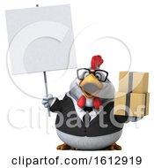 Poster, Art Print Of 3d White Business Chicken Holding Boxes On A White Background