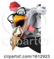 Poster, Art Print Of 3d White Business Chicken Holding A Waffle Cone On A White Background