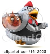 3d White Business Chicken Holding A Fish Bowl On A White Background
