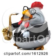 Poster, Art Print Of 3d White Business Chicken Holding A Saxophone On A White Background