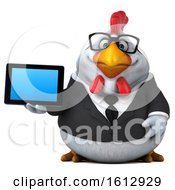 Poster, Art Print Of 3d White Business Chicken Holding A Tablet On A White Background